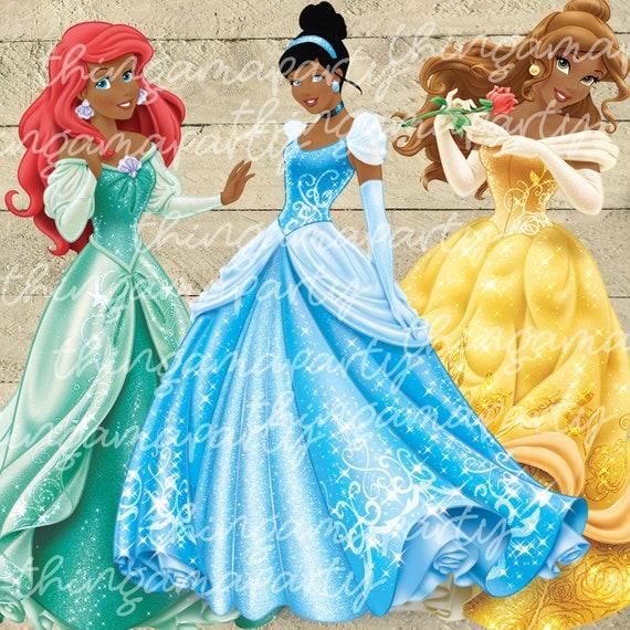 African American Ariel Cinderella Belle Color Set Clipart