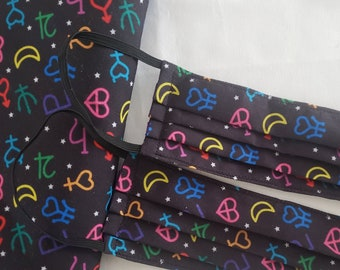 Pleated Face Mask - Sailor Moon Planetary Symbols, Polyester Cotton Blend Front - Adult and Kids Sizes