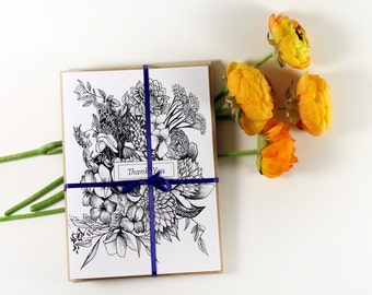 Thank you Cards- Set of 8- hand drawn flowers