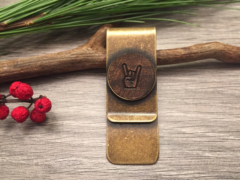 Leather Money Clip /'Rock Out/' Hand on Bronze