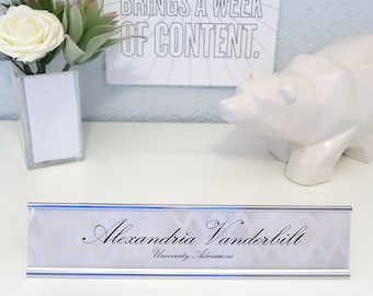 """Custom Chevron Nameplate """"Alexandria"""" - Personalized Desk Name Plate Sign Decor - Office Accessories - Modern Office Supplies"""