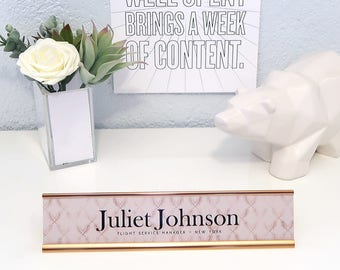 """Custom Patterned Nameplate """"Juliet"""" - Personalized Desk Name Plate Sign Decor - Office Accessories - Rose Gold Office Decoration Decor"""
