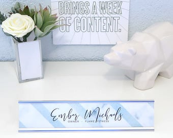 """Custom Striped Name Plate """"Ember"""" - Personalized Desk Name Plate Sign Decor - Office Accessories - Rose Gold Nameplate - Wall Mount"""