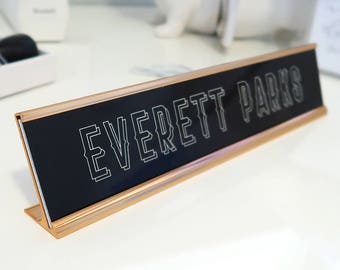 """Custom Wood Nameplate """"Everett"""" - Personalized Desk Name Plate Sign Decor - Office Accessories - Modern Office Supplies"""