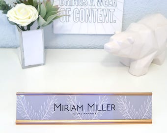 """Custom Nature Nameplate """"Miriam"""" - Personalized Desk Name Plate Sign Decor - Office Accessories - Rose Gold Nameplate - Wall Mount Option"""