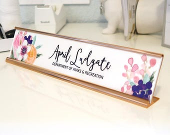 """Custom Flower Nameplate """"April"""" - Personalized Desk Name Plate Sign Decor - Office Accessories - Rose Gold Holder - Wall Mounted Option"""