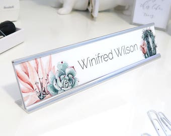 """Custom Succulent Name Plate """"Winifred"""" - Personalized Desk Name Plate Sign Decor - Office Accessories - Wall Mount Option"""