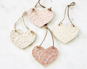 Ceramic Heart Ornament | Handmade Pendant | Carved Heart Gift | Christmas Ornament | Wedding Gift | Valentine's Day | Hanging Wall Decor