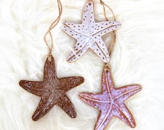 Ceramic Starfish Ornament | Handmade Pendant | Gift Idea | Hanging Ocean Clay | Housewarming Gift | Beach Decoration | Christmas Tree