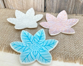 Flower Shaped Ceramic Jewelry Dish | Trinket Dish | Jewelry Holder | Handmade Dish | Clay Jewelry Holder | Floral Gift for Her | Colorful