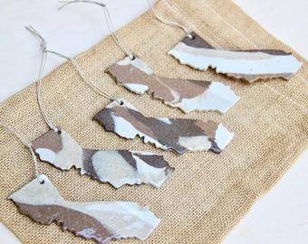 Ceramic California Ornament | Handmade Pendant | Gift Idea | Hanging Clay State | Housewarming Gift | California Decoration | Earth Tones