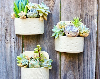 Ceramic Wall Planter | Handmade Wall Pocket | Succulent Hanging Pot | Modern Fence Decor | Indoor Planter | Wall Clay Pottery