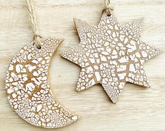 Sun and Moon Ornament | Handmade Gift Idea | Hanging Sun | Housewarming Gift | Moon Home Decoration | Christmas Tree Decor | Crackle Glaze