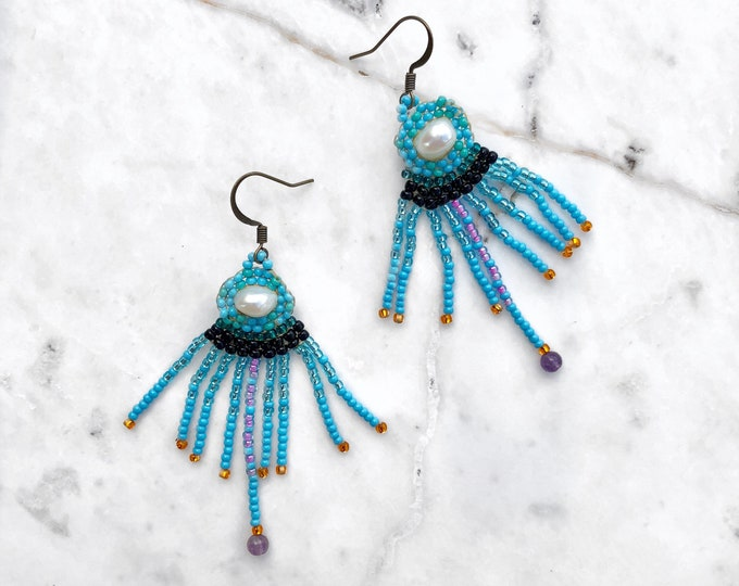 Octopoda Amethyst Pearl Earrings