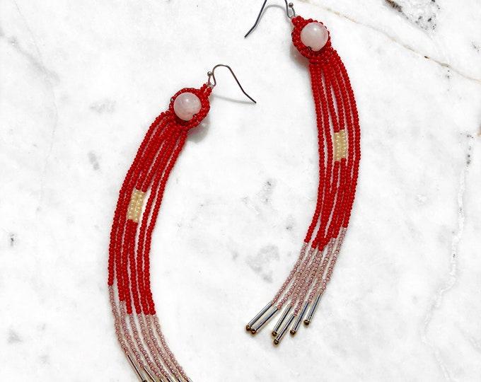 Teuthida Rose Quartz Earrings