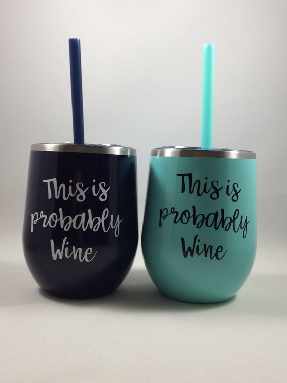 Powder Coated Stainless Steel 12oz Stemless Wine Glass with Straw and Lid with Print Best Teacher Ever
