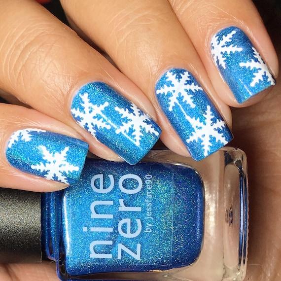 Snowflake Holiday Christmas Nail Vinyl Fingernail Art Stencils Etsy