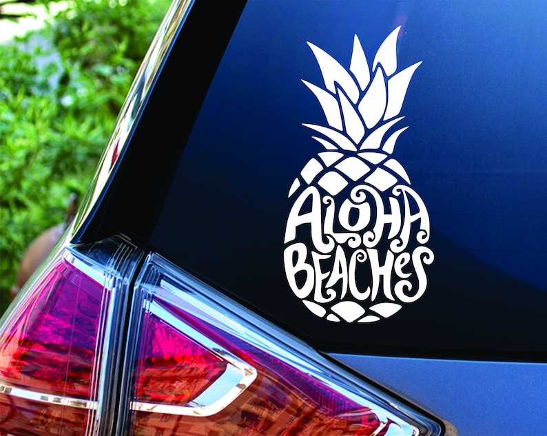 Aloha Beaches Pineapple Car Planner Laptop YETI Decal Sticker image 0