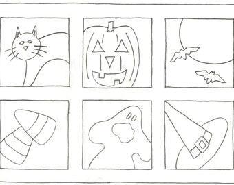 Whimsy Rugs Rug Hooking Pattern - Spooky Squares - Three Sizes - Monks Cloth or Scottish Linen