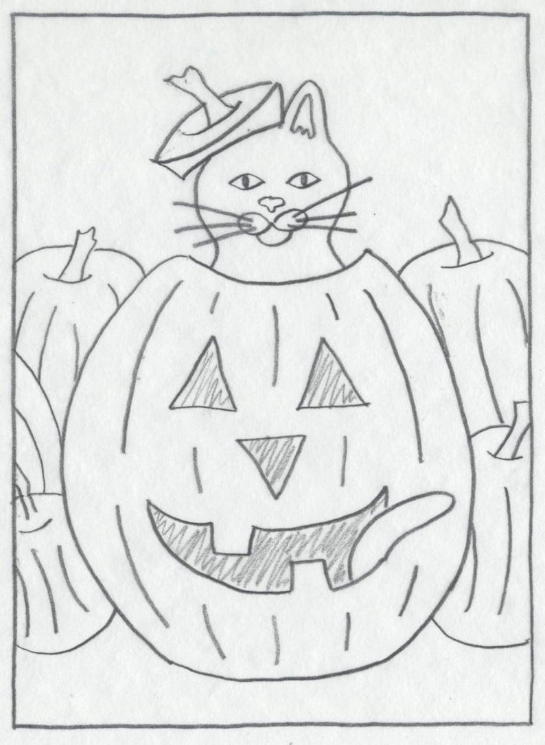Whimsy Rugs Rug Hooking Pattern  Purring Pumpkin  13 x image 0