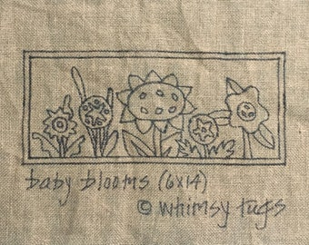 Whimsy Rugs Rug Hooking Pattern - Baby Blooms - Linen or Monks Cloth