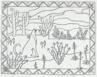 Whimsy Rugs Rug Hooking Pattern - Desert Delight - Two Sizes - Monks Cloth or Scottish Linen