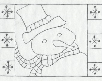 """Whimsy Rugs Rug Hooking Pattern - It's Cold Outside - 8"""" x 12"""" - Scottish Linen or Monks Cloth"""