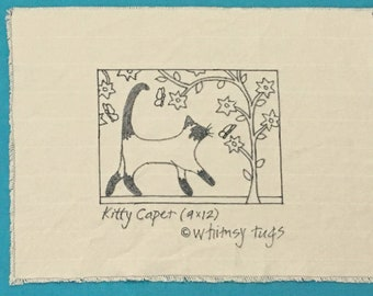 Whimsy Rugs Rug Hooking Pattern - Kitty Caper - Two Sizes - Monks Cloth or Linen