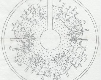 """Whimsy Rugs Rug Hooking Pattern - Winter Wonderland Tree Skirt - 52"""" diameter - Scottish Linen or Monks Cloth"""