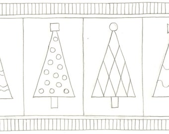Whimsy Rugs Rug Hooking Pattern - Trendy Trees - Two Sizes - Monks Cloth or Scottish Linen