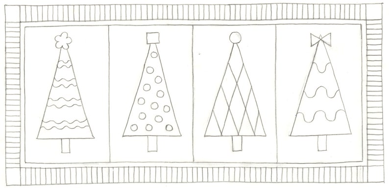 Whimsy Rugs Rug Hooking Pattern  Trendy Trees  Two Sizes  image 0