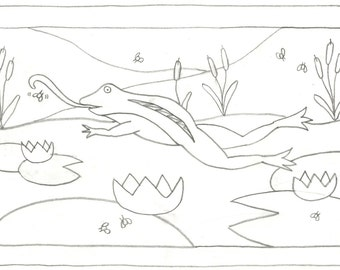 Whimsy Rugs Rug Hooking Pattern - Froggy Feast - Two Sizes - Monks Cloth or Scottish Linen