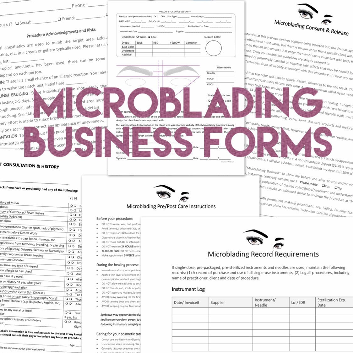 Microblading Permanent Makeup Care Forms - add your Logo - Custom Consent  Waiver - Client Consult - Professional Business Kit - PDF digital