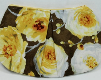 Yellow & Brown Floral Pleated Clutch