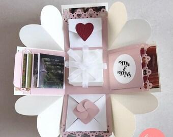 Wedding Exploding Box Explosion Love Anniversary Cream White Pink