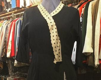 Vintage 1950s Black Dress w/Polka Dot Silk Detachable Scarf