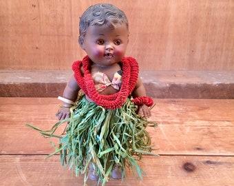 Vintage 1950s Tod-L-Tod Baby Lani Doll - Original Hawaiian Outfit