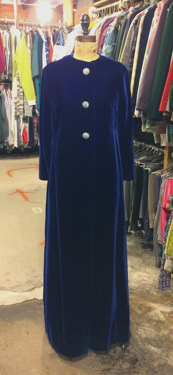 1960s Full Length Royal Blue Velvet Coat with Rhin