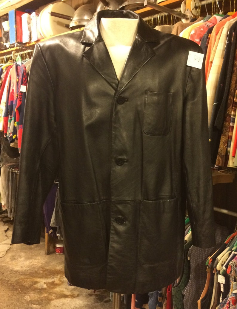 6692be3fa Vintage Black Leather Blazer by Wilsons Leather Pelle Studio   Etsy
