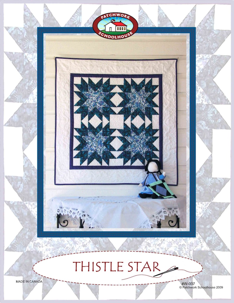 Free Quilt Pattern Thistle Star Wall Hanging Easy Quilt Etsy