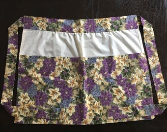 Purple and yellow floral half apron