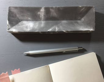 Concrete Pens / Pencils / Stationery Holder, combination of dark gray and white (Accessories Plate / Organizer Tray)