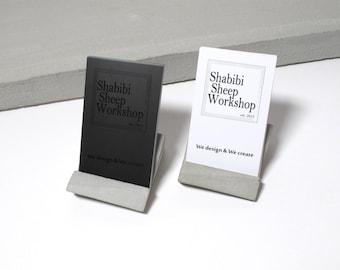Desktop business card holder etsy geometric concrete desktop business card holder perfect for both vertical horizontal cards colourmoves