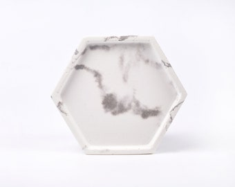 White marble patterned concrete tray / dish / coaster / accessory holder in Hexagon shape
