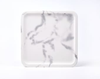 White marble patterned concrete tray / dish / coaster / accessory holder in Square shape (Large)