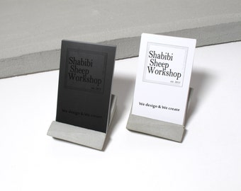 Geometric concrete desktop business card holder (perfect for both Vertical & Horizontal cards)