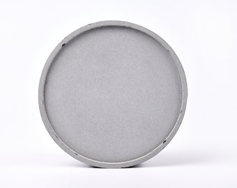 Concrete tray / dish / coaster / accessory holder in Round shape (Large)