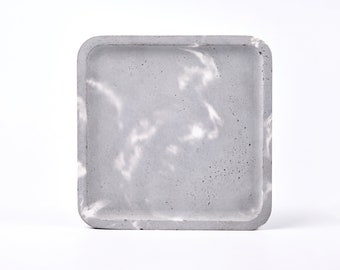 Grey marble patterned concrete tray / dish / coaster / accessory holder in Square shape (Large)