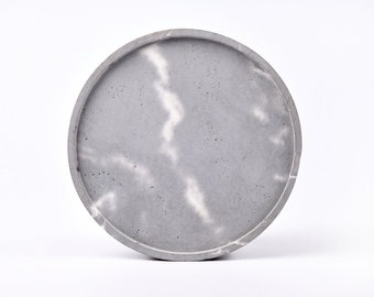 Gray marble patterned concrete tray / dish / coaster / accessory holder in Round shape (Large)