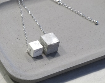 Minimal sterling silver necklace with Marbling concrete beads (Cubes)